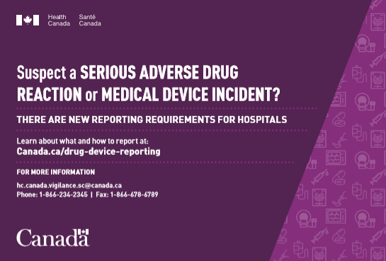 Post card: Suspect a serious adverse drug reaction or medical device incident