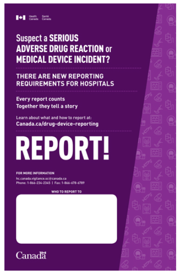 Poster: Suspect a serious adverse drug reaction or medical device incident