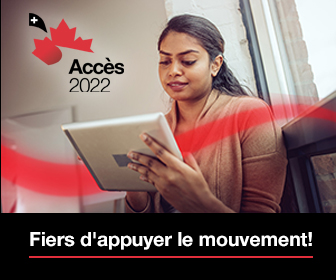 "ACCESS 2022 Badge that says in French ""Fiers d'appuyer le mouvement"""