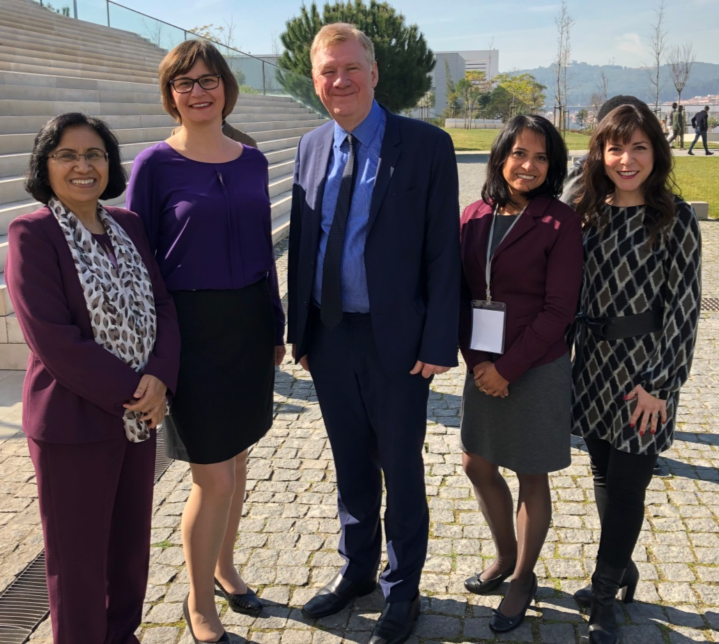 Attendees at the February 2019 WHO expert consultation meeting. Left to right: Dr. Neelam Dhingra-Kumar (WHO),  Ioana Popescu (CPSI), Sir Liam Donaldson (WHO), Katthyana Aparicio (WHO), and Sandi Kossey (CPSI)