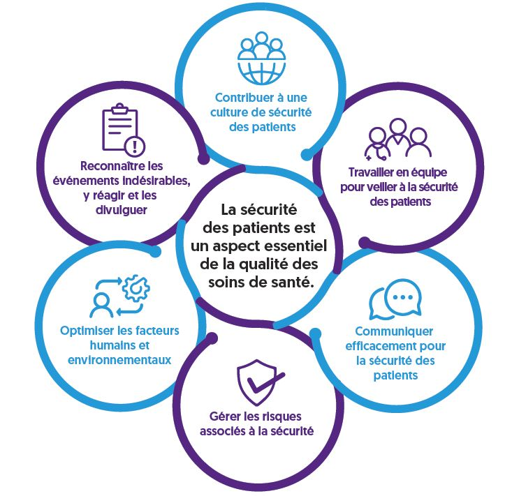 This says: Enhancing patient safety across health professions in French